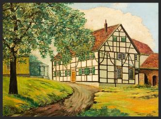 Ein Fachwerkhaus mit Nebengebäuden im Grünen