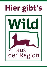 """Ein Plakat von """"Wild aus der Region"""" mit einem springenden Bock"""
