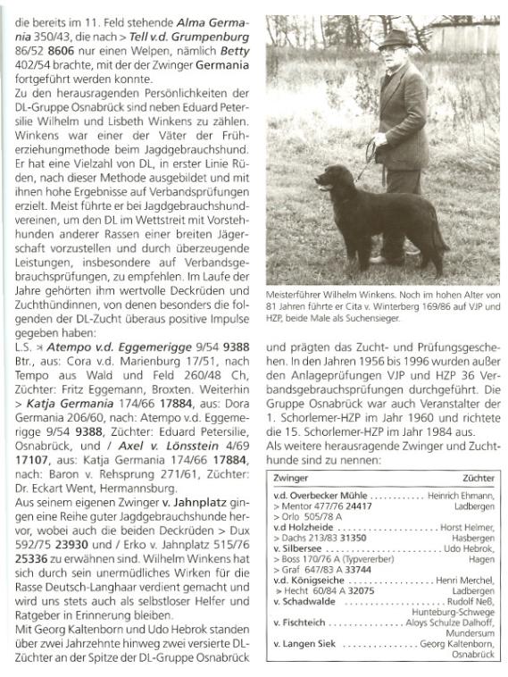 Ein Buchausschnitt von Merx indem der Urvater des Zwingers von der Hafkesdell erwähnt wird.